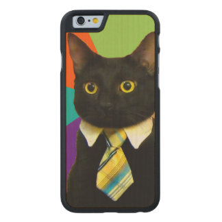 business cat - black cat carved maple iPhone 6 case