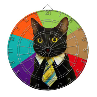 business cat - black cat dartboard