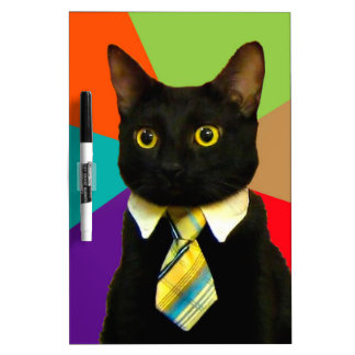 business cat - black cat dry erase board