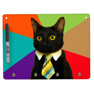 business cat - black cat dry erase board with key ring holder