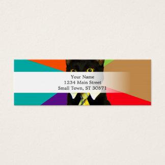 business cat - black cat mini business card