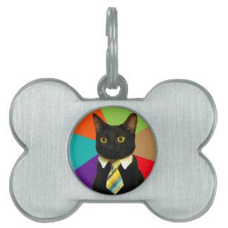 business cat - black cat pet ID tag