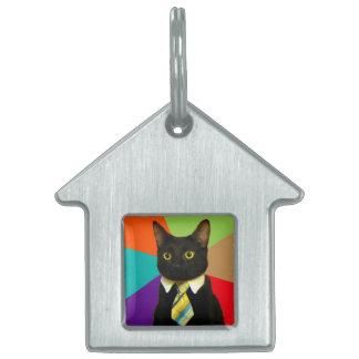 business cat - black cat pet tag