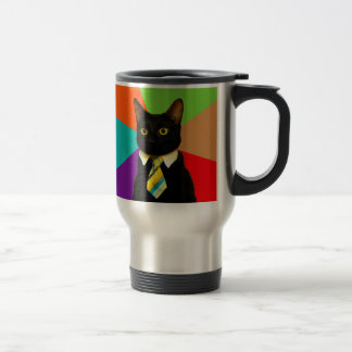 business cat - black cat travel mug