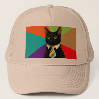 business cat - black cat trucker hat