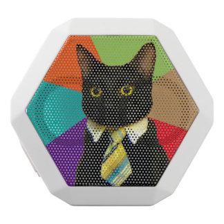 business cat - black cat white bluetooth speaker