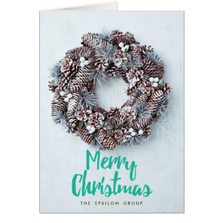 Business Corporate Wreath Merry Christmas Card