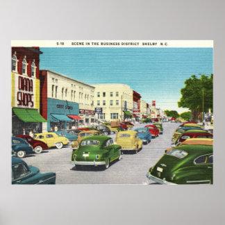 Business District, Shelby, North Carolina Vintage Poster
