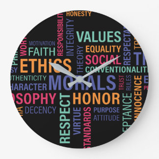 """Business Ethics"" No Numbers Large Clock"