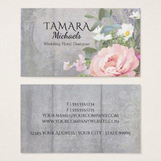 Business Florist Elegant Rustic Floral Pink Peony Business Card