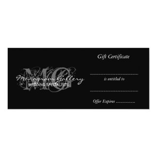Business Gift Certificate Template with Monogram 10 Cm X 24 Cm Invitation Card