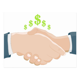 Business Handshake Cartoon Postcard
