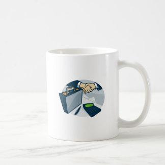 Business Handshake Deal Briefcase Retro Coffee Mug