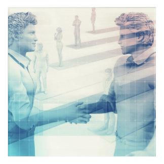 Business Handshake on Digital Technology Acrylic Wall Art