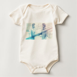 Business Handshake on Digital Technology Baby Bodysuit