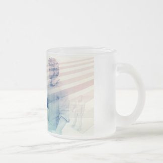 Business Handshake on Digital Technology Frosted Glass Coffee Mug