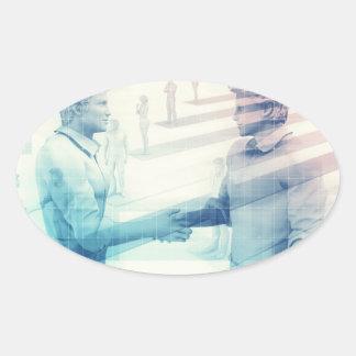 Business Handshake on Digital Technology Oval Sticker