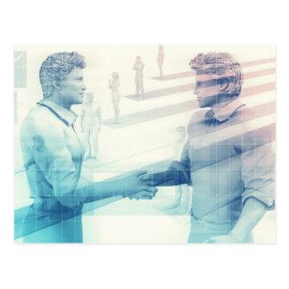 Business Handshake on Digital Technology Postcard