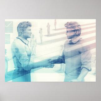 Business Handshake on Digital Technology Poster