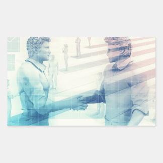 Business Handshake on Digital Technology Rectangular Sticker