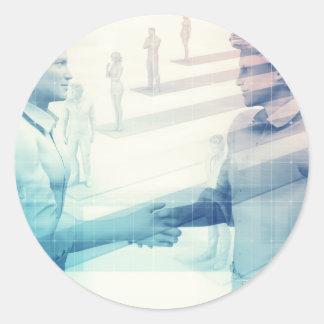 Business Handshake on Digital Technology Round Sticker