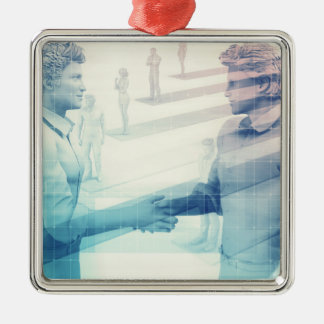 Business Handshake on Digital Technology Silver-Colored Square Decoration