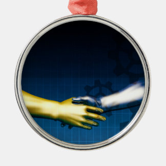 Business Integration Network with Hands Shaking Ab Metal Ornament