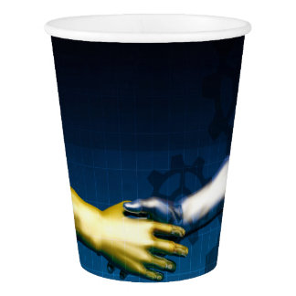 Business Integration Network with Hands Shaking Ab Paper Cup