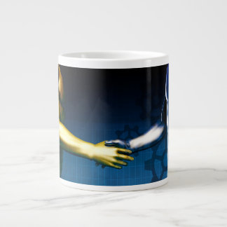 Business Integration Network with Hands Shaking Large Coffee Mug