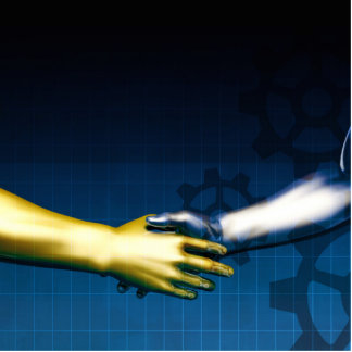 Business Integration Network with Hands Shaking Photo Sculpture Decoration