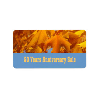 Business Labels Personalize 50 Yr Anniversary Sale