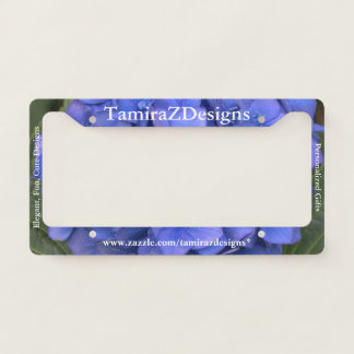 Business License Plate Frame Blue Hydrangea