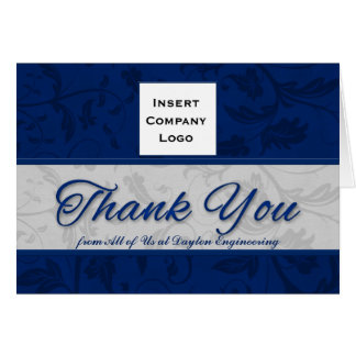 Business Logo Custom Thank You Blue Damask Card