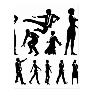 Business Men and Women Silhouettes Postcard