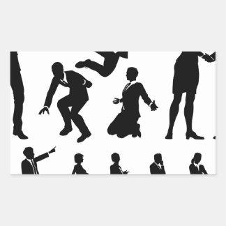 Business Men and Women Silhouettes Rectangular Sticker