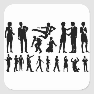 Business Men and Women Silhouettes Square Sticker