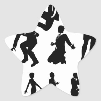 Business Men and Women Silhouettes Star Sticker