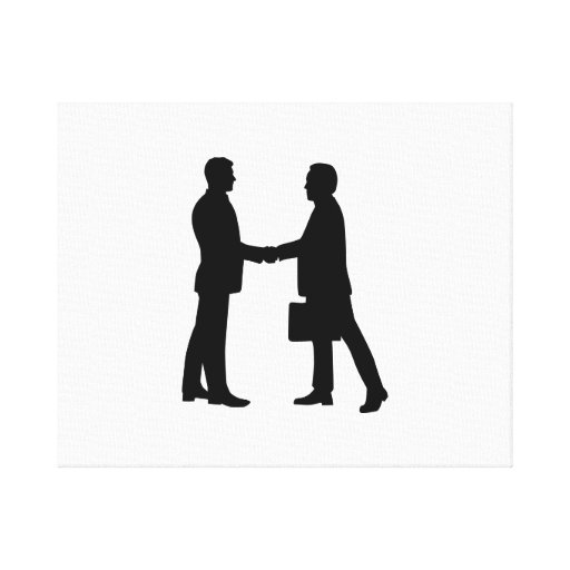 Business men shake hands gallery wrap canvas