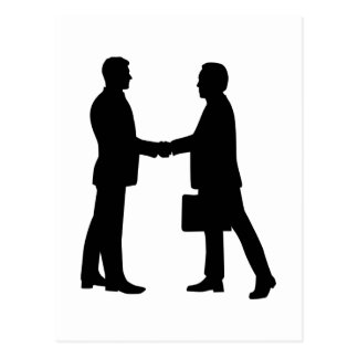 Business men shake hands postcard