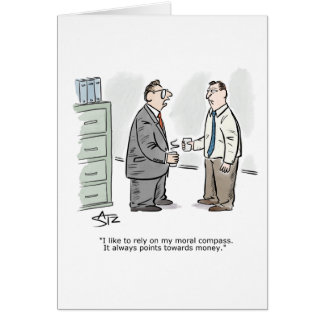 Business moral compass greeting card