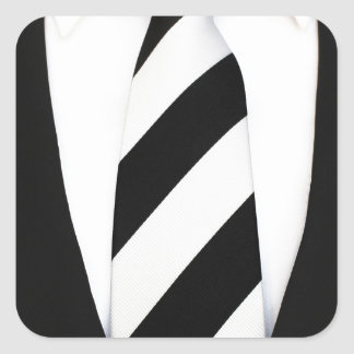 Business Office Men Tie Suit Pattern Stripes Square Sticker