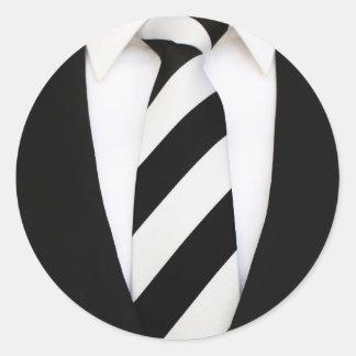 Business Office Men Tie Suit Pattern Stripes Round Sticker