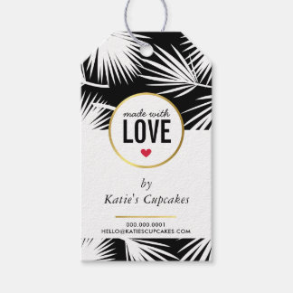 BUSINESS PACKAGING made with love palm leaves Gift Tags