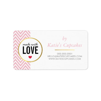 BUSINESS PACKAGING made with love pink chevron Address Label