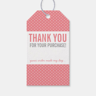 BUSINESS PACKAGING THANK YOU bold polka dot coral