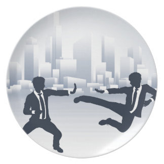 Business People Kung Fu Fighting Plate