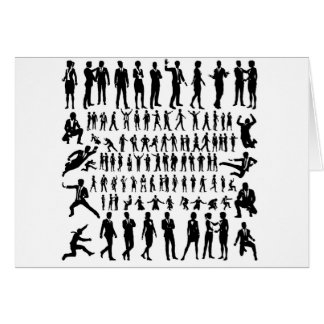 Business People Silhouettes Big Set Card