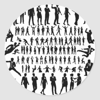 Business People Silhouettes Big Set Classic Round Sticker