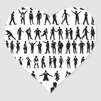Business People Silhouettes Big Set Heart Sticker