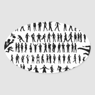 Business People Silhouettes Big Set Oval Sticker